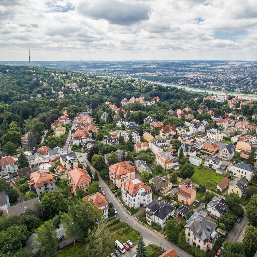 Dresdner Immobilien Beratung - Luftaufnahme Wohnsiedlung Dresden